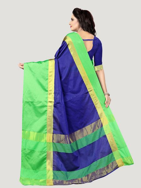 Buy Plain Blue Silk Saree with Green Broad Border Online - YOYO Fashion