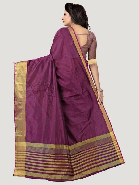 Buy Plain Dark Pink Saree with Golden Border Online - YOYO Fashion