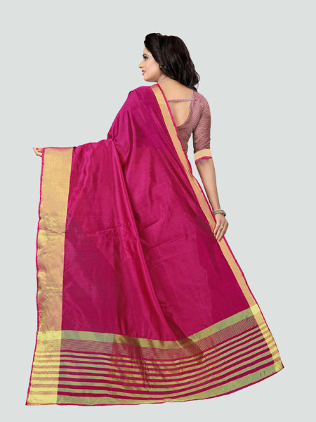 38dc8a9be7cad ... Buy Plain Pink Silk Saree with Golden Border Online from YOYO Fashion  ...