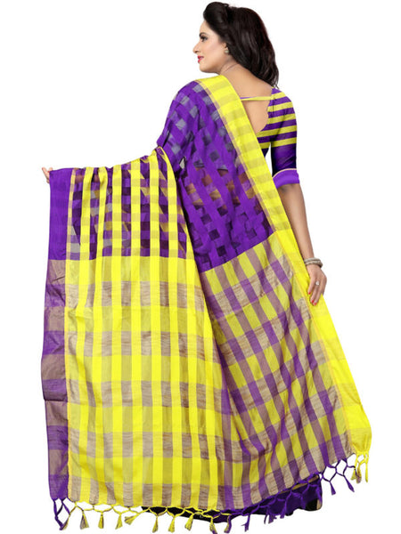 Back Pallu of Purple and Yellow Silk Saree - YOYO Fashion