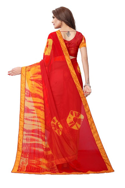 Pallu of Red Georgette Bandhani Saree - YOYO Fashion