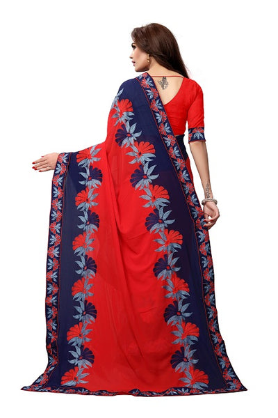 Pallu of Red Georgette Saree with Thread Embroidery - YOYO Fashion
