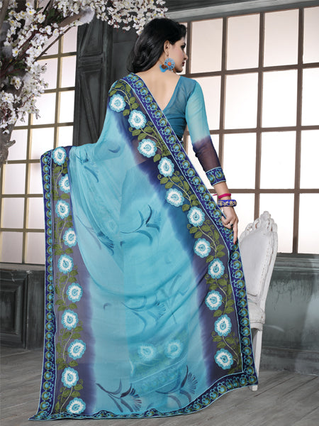 Back Pallu of Sky Blue Embroidered Chiffon Saree - YOYO Fashion