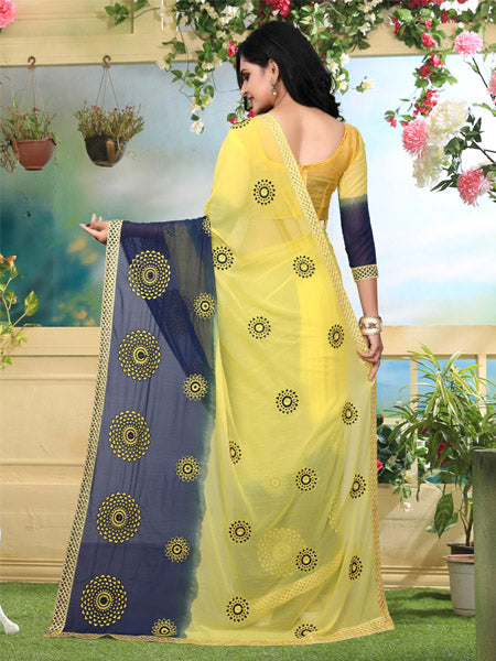 Back Pallu of Yellow and Blue Georgette Saree - YOYO Fashion