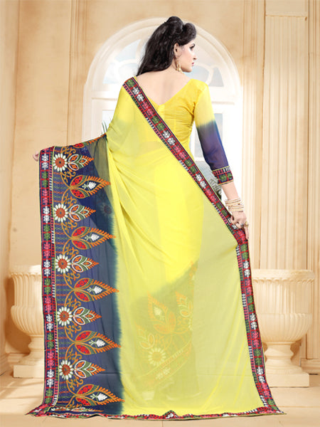 Back Pallu of Yellow and Blue Saree with Thread Work - YOYO Fashion