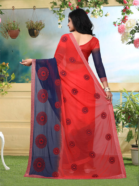 Back Pallu of Red and Blue Georgette Saree - YOYO Fashion