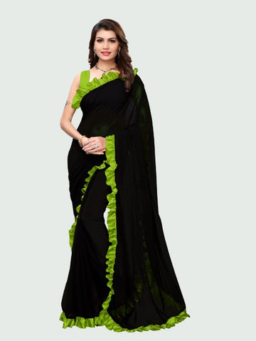 Parrot Green and Black Ruffle Saree Online - YOYO Fashion