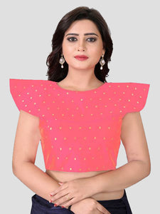 Buy High Neck Peach Silk Blouse Online from YOYO Fashion
