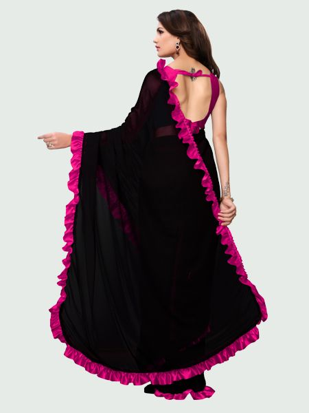 Pallu of Latest Pink and Black Ruffle Saree for Women Online - YOYO Fashion