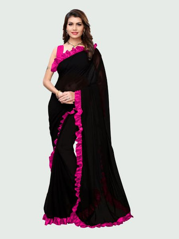 Buy Designer Pink and Black Ruffle Saree Online in India from YOYO Fashion