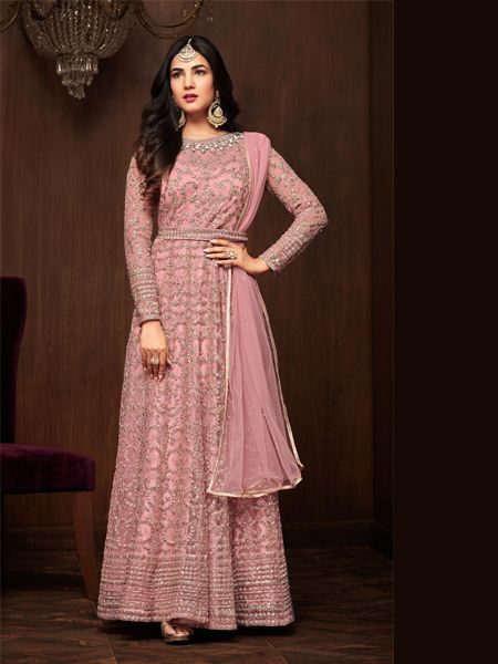 Buy Pink Designer Anarkali Salwar Suit Online - YOYO Fashion