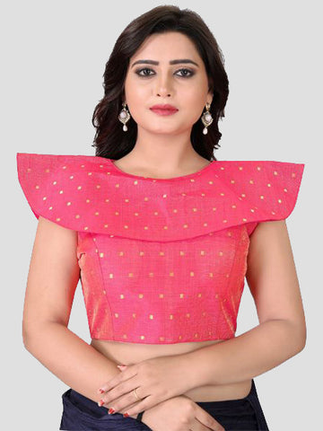 Buy Pink High Neck Silk Saree Blouse Online from YOYO Fashion
