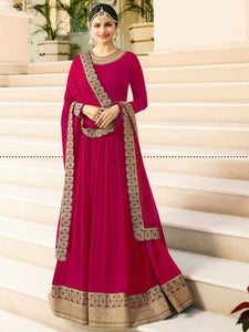Buy Pink Plain Anarkali Suit with Heavy Border Online - YOYO Fashion.