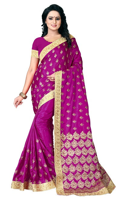 Buy Pink Silk Saree with Flower Embroidery Online from YOYO Fashion