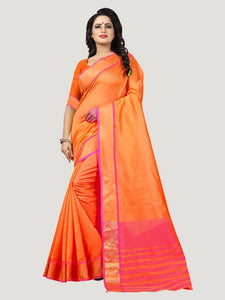 15d4d9f299e69 Buy Plain Orange Silk Saree with Pink Pallu Online in India – YOYO ...