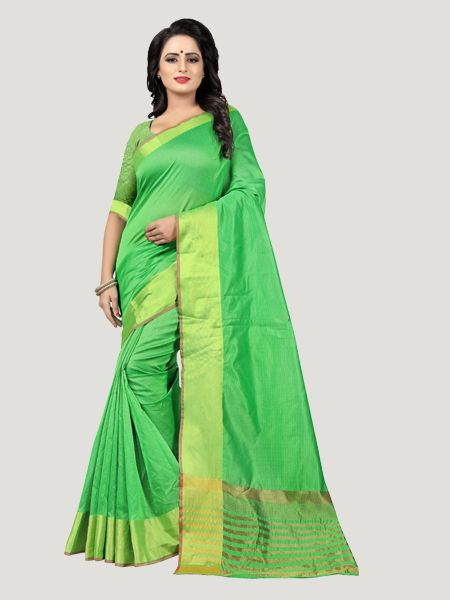 Buy Plain Parrot Green Saree with Golden Border Online - YOYO Fashion