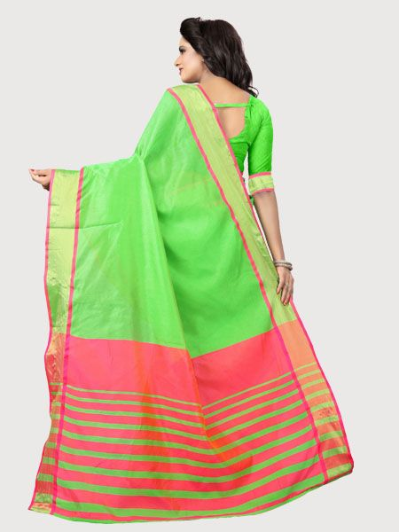 cce5168bb6799 ... Buy Plain Parrot Green Silk Saree with Pink Pallu Online - YOYO Fashion