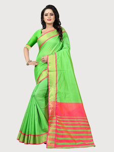 029a2db9d47ab Buy Plain Parrot Green Silk Saree with Pink Pallu Online - YOYO Fashion