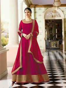 Buy Plain Pink Anarkali Suit with Heavy Border Online - YOYO Fashion