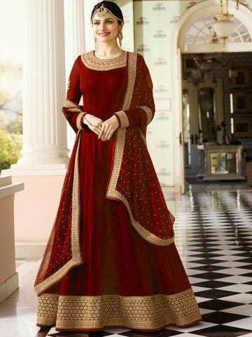 Buy Plain Red Anarkali Suit with Heavy Border Online - YOYO Fashion