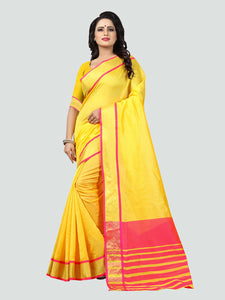 a43cc2a60bf0d Buy Plain Yellow Silk Saree with Pink Pallu Online in India – YOYO ...