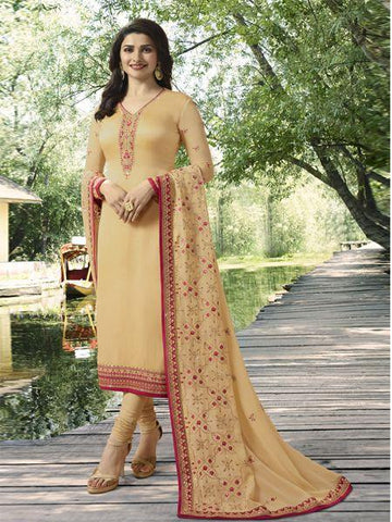 Shop Designer Beige Straight Salwar Suit Online in India from YOYO Fashion