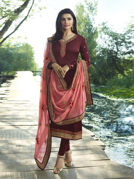 Shop Prachi Desai Wine and Peach Embroidered Straight Suit Online from YOYO Fashion
