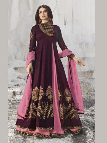Shop Prachi Desai Wine & Pink Embroidered Anarkali Suit Online from YOYO Fashion