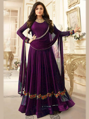 Buy Sparky Purple Anarkali Salwar Suit Online - YOYO Fashion