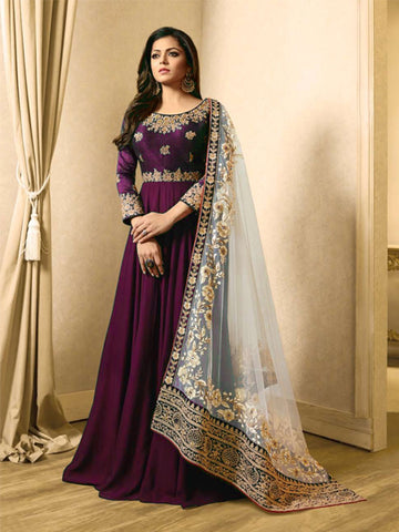 Buy Purple Georgette Anarkali Suit Online - YOYO Fashion