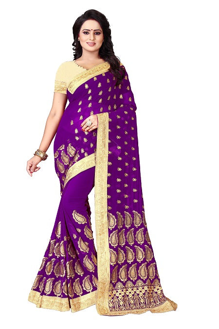 Buy Purple Silk Saree with Paisley Embroidery Online from YOYO Fashion