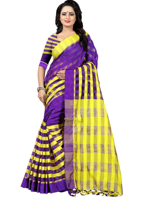 Shop Purple and Yellow Striped Silk Saree Online from YOYO Fashion