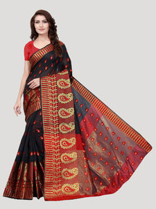 Buy Red & Black Paisley Motif Jacquard Saree Online - YOYO Fashion