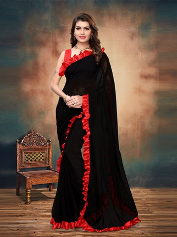 Red and Black Ruffle Saree Online - YOYO Fashion