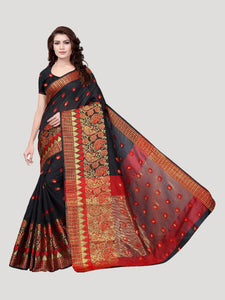 Buy Red & Black Peacock Motif Jacquard Saree Online - YOYO Fashion
