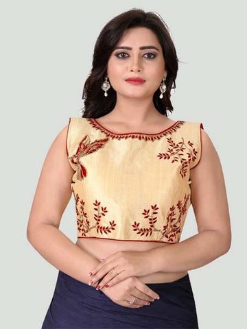 Red Boat Neck Women's Stitched Blouse Online - YOYO Fashion