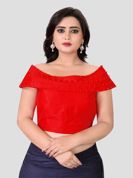 Buy Latest Designer Red Boat Neck Solid Blouse Online - YOYO Fashion