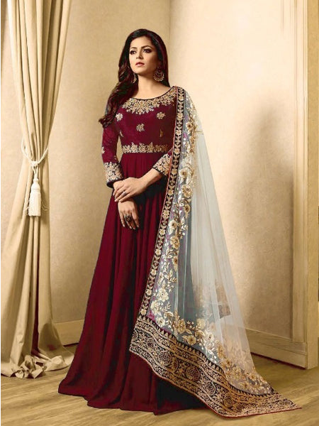 Buy Red Georgette Anarkali Suit Online - YOYO Fashion