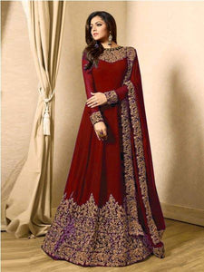 Buy Red Georgette Embroidered Anarkali Suit Online - YOYO Fashion