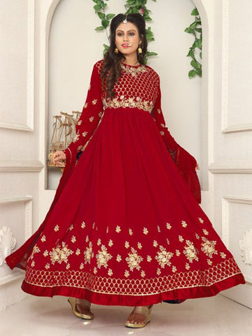 Buy Red Net Border Embroidered Salwar Suit - YOYO Fashion
