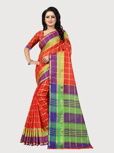 Buy Red Zari Border Checks Saree Online - YOYO Fashion
