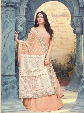 Buy Resham Embroidered Peach Anarkali Suit Online - YOYO Fashion