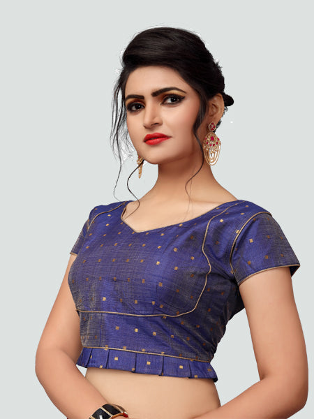 Right Side of Blue Silk Saree Blouse for Women - YOYO Fashion