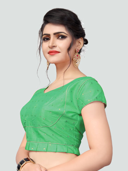 Right Side of Green Silk Saree Blouse for Women - YOYO Fashion