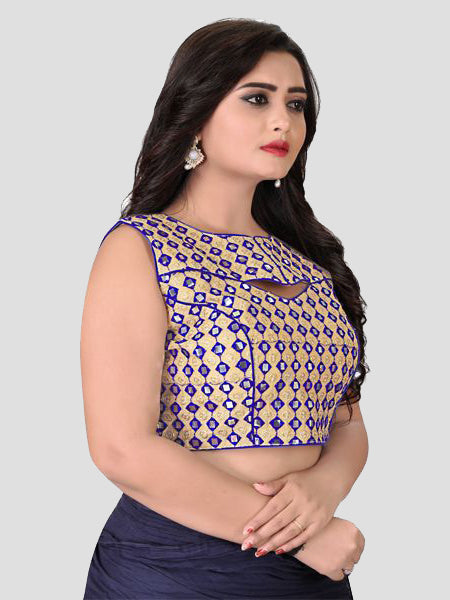Right Side of Blue Mirror Work Blouse - YOYO Fashion