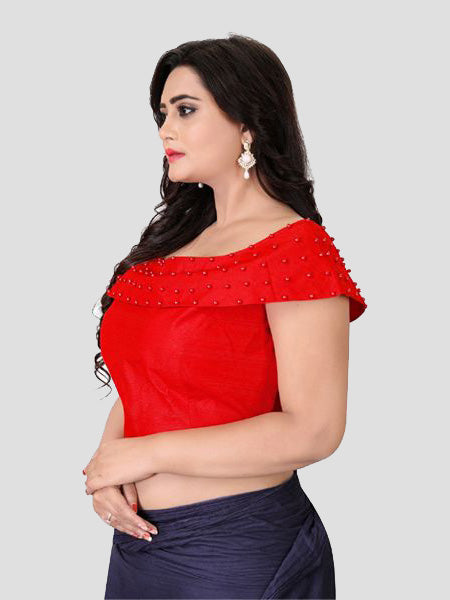 Left Side of Red Boat Neck Solid Blouse Online - YOYO Fashion
