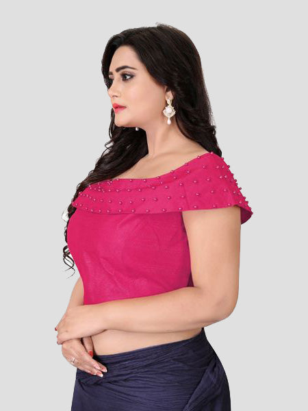 Left Side of Pink Boat Neck Solid Blouse Online - YOYO Fashion