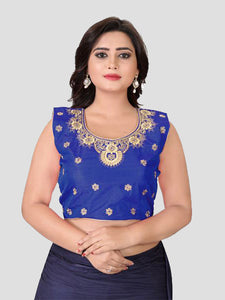 Buy Royal Blue Embroidered Silk Blouse Online from YOYO Fashion