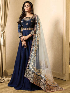 Shop Royal Blue Embroidered Anarkali suit