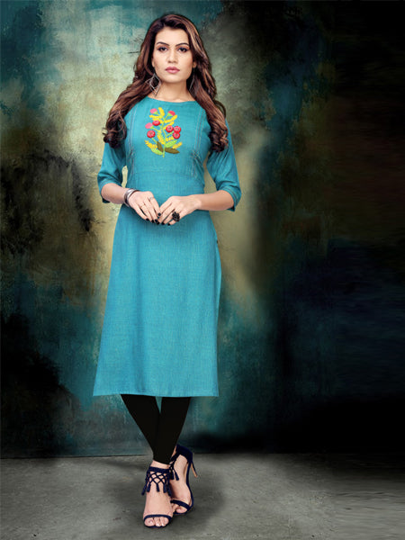 Buy Sky_Blue Heavy Namo Slub Rayon Hand Work Kurti Online - YOYOFashion
